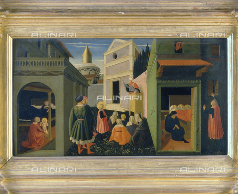 FIN-S-PG0000-504B - Birth of St. Nicholas and St. Nicholas who gives the three balls of gold to three girls, Stories of St. Nicholas, predella of the Polyptych of Perugia, Beato Angelico (1395 ca.-1455), National Gallery of Umbria, Perugia - Reproduced with the permission of Ministero per i Beni e le Attività Culturali / Finsiel/Alinari Archives