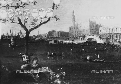 FPA-F-001775-0000 - Family tree Giovannelli (detail), oil on canvas, Francesco Lazzaro Guardi (1712-1793), Fondazione Giorgio Cini, Venice - Date of photography: 1945 ca. - Alinari Archives-Fiorentini Archive, Florence