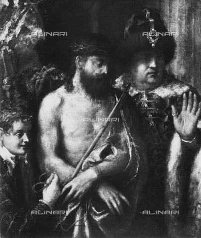 FPA-F-002896-0000 - Ecce Homo, oil on canvas, Titian (1485 ca.-1576), Private Collection in Venice, today in the Saint Louis Art Museum, St. Louis, Missouri, USA - Date of photography: 1945 ca. - Alinari Archives-Fiorentini Archive, Florence