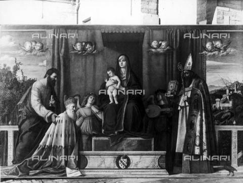 FPA-F-003566-0000 - Madonna and Child Enthroned (Pala Barbarigo), oil on panel, Giovanni Bellini (1433-1516), Church of San Pietro Martire, Murano, Venice - Date of photography: 1935 ca. - Alinari Archives-Fiorentini Archive, Florence
