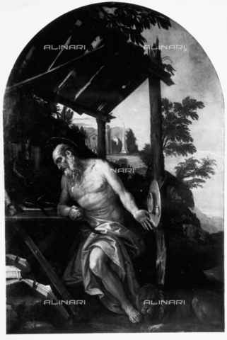 FPA-F-004477-0000 - St. Jerome Penitent, oil on canvas, by Paolo Veronese (1528-1588), Gallerie dell'Accademia, Venice - Date of photography: 1950 ca. - Alinari Archives-Fiorentini Archive, Florence