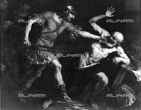 FPA-F-007769-0000 - The killing of Archimedes, oil on canvas, Giovan Battista Langetti (1625-1676), Private Collection, Venice - Date of photography: 1950 ca. - Alinari Archives-Fiorentini Archive, Florence
