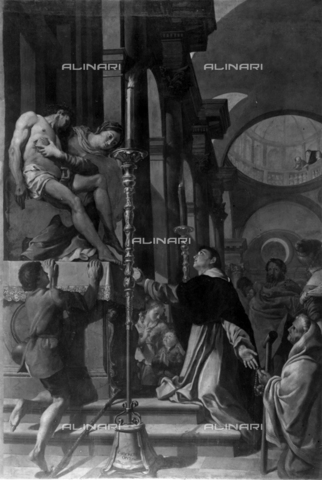 FPA-F-007779-0000 - Miracle of Blessed Suso, oil on canvas, Giovanni Carboncinio (1638-1692), Church of St. Nicholas, Treviso - Date of photography: 1935 ca. - Alinari Archives-Fiorentini Archive, Florence