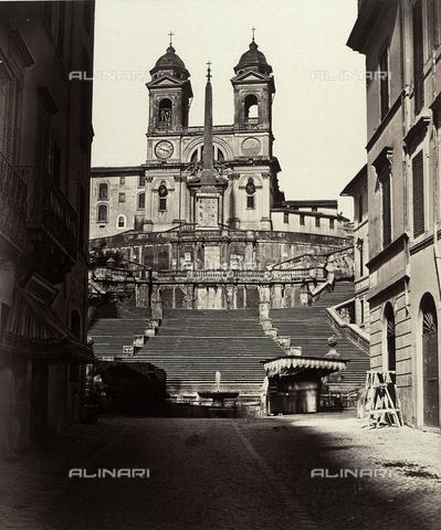 FVQ-F-027471-0000 - Scalinata di Piazza di Spagna con la Chiesa di Trinità ai Monti, Roma - Data dello scatto: 1855 ca. - Raccolte Museali Fratelli Alinari (RMFA), Firenze