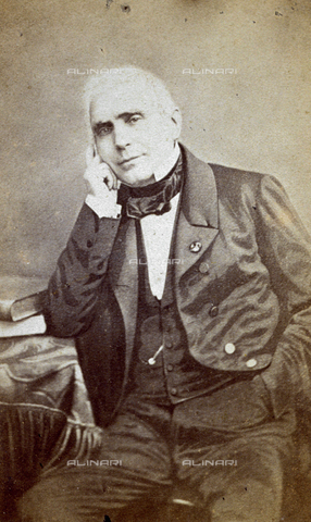 FVQ-F-027665-0000 - Three-quarter length portrait of the famous French playwright Augustin-Eugène Scribe in elegant attire of the Romantic period - Date of photography: 1860 ca. - Fratelli Alinari Museum Collections, Florence