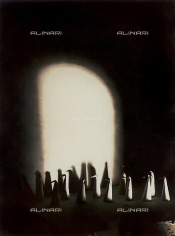 """FVQ-F-045723-0000 - """"I pinguini (II)"""" (""""Penguins""""): paper figurines photographed on a tabletop - Data dello scatto: 1933 - Archivi Alinari, Firenze"""
