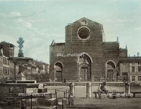 FVQ-F-045952-0000 - Santa Croce, Firenze, acquatinta da dagherrotipo, Museo di Storia della Fotografia Fratelli Alinari, Firenze