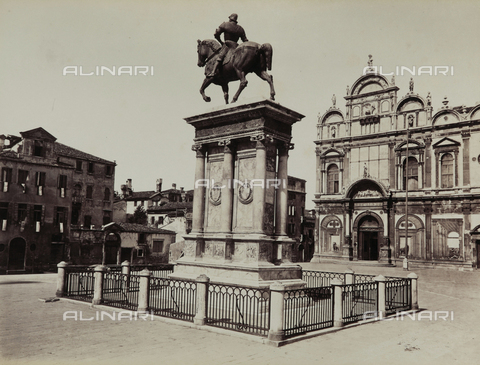 FVQ-F-047771-0000 - View of Campo Santi Giovanni and Paolo in Venice, with the Monument to Bartolomeo Colleoni and the Scuola Grande di San Marco - Data dello scatto: 1865-1875 - Archivi Alinari, Firenze