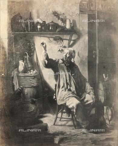 """FVQ-F-050205-0000 - Riproduzione del dipinto """"Interieur d'un cellier"""". Opera di Emile Lucien esposta a Parigi al Salon del 1853 - Data dello scatto: 1853 - Archivi Alinari, Firenze"""