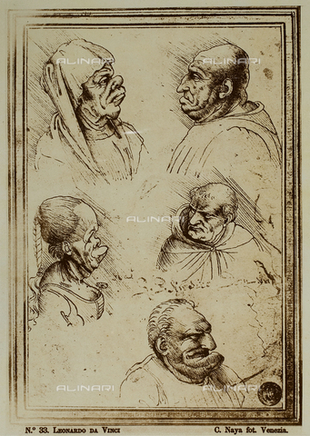 FVQ-F-067583-0000 - Five grotesque heads, drawing, Leonardo da Vinci (1452-1519), Gallerie dell'Accademia, Venice - Data dello scatto: 1865-1875 - Archivi Alinari, Firenze