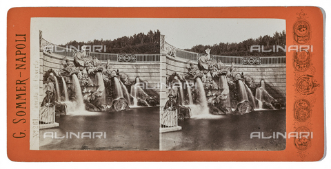 FVQ-F-075609-0000 - The Waterfall of the Dolphins, also called Canalone in the park of the Reggia of Caserta. Stereoscopic image - Data dello scatto: 1880-1890 - Archivi Alinari, Firenze