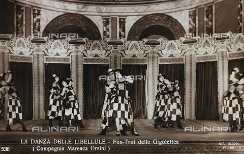 """FVQ-F-081988-0000 - Actors on stage during the performance of """"La Danza delle Libellule"""" (Fox-Trot of Gigolettes), Orsini Maresca Company; postcard - Data dello scatto: 1923-1926 - Archivi Alinari, Firenze"""