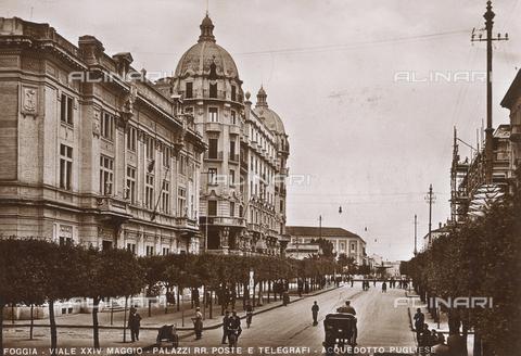 FVQ-F-096192-0000 - Postcard of Foggia, Viale XXIV Maggio, Palazzi delle Poste e dei Telegrafi and Apulian Aqueduct
