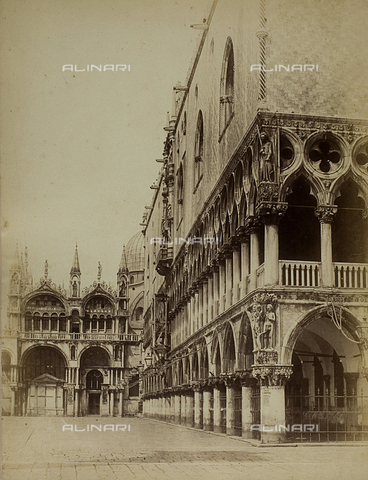 FVQ-F-118346-0000 - Glimpse of Piazza San Marco in Venice, with the façade of the Basilica and the Palazzo Ducale - Data dello scatto: 1865-1875 - Archivi Alinari, Firenze