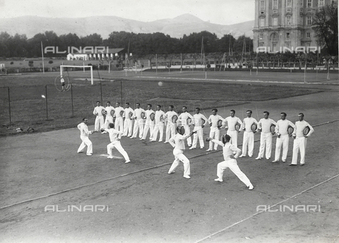 FVQ-F-119111-0000 - Athletes of the Royal Air Force Academy, during a fencing lesson
