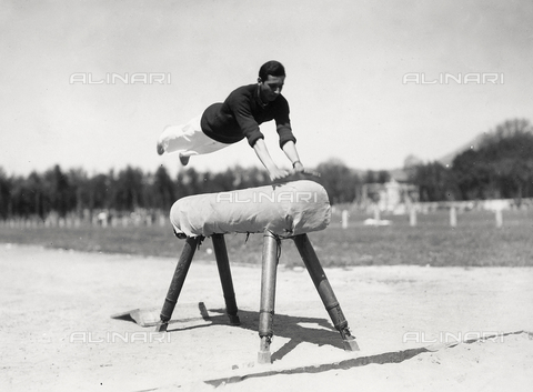 FVQ-F-119127-0000 - Athlete of the Royal Air Force Academy, during a gymnastic excercise