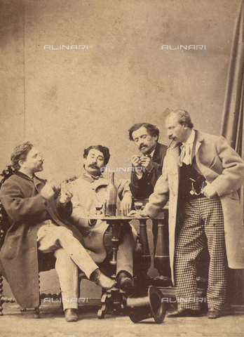 FVQ-F-121687-0000 - Portrait of men gathered around a small table, drinking and playing cards - Date of photography: 1865 ca. - Fratelli Alinari Museum Collections, Florence