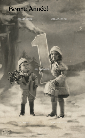 FVQ-F-123330-0000 - Happy New Year: children posing with a number one