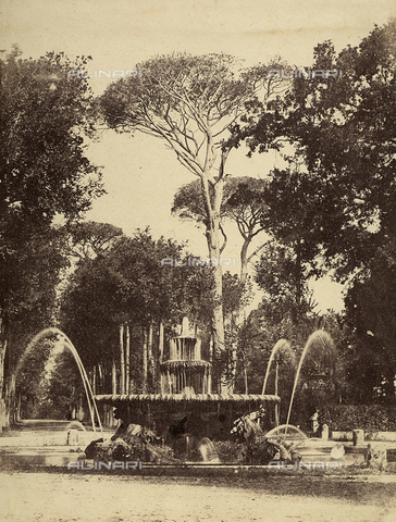 FVQ-F-141083-0000 - Fountain of seahorses. Worb by Cristoforo Unterberger, located in the gardens of Villa Borghese, Rome - Data dello scatto: 1855-1860 - Archivi Alinari, Firenze