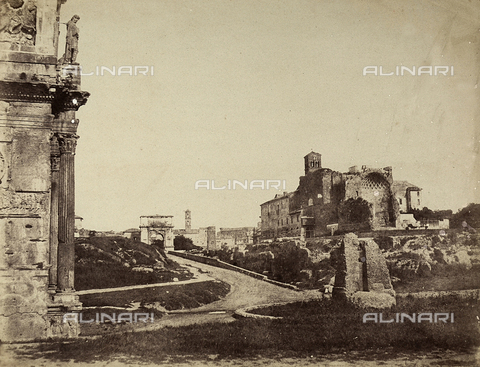 FVQ-F-141087-0000 - Temple of Venus and the Arch of Titus, Rome - Data dello scatto: 1855-1860 - Archivi Alinari, Firenze