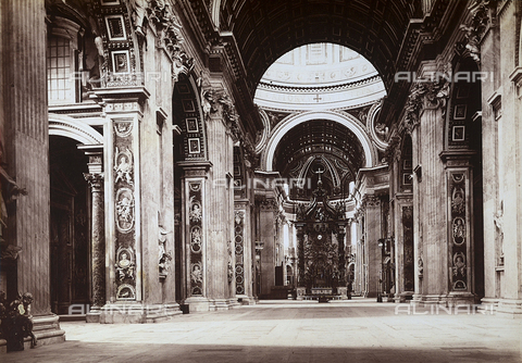 FVQ-F-147411-0000 - Interior of the basilica of S. Pietro, in Vatican City. In the background the baroque Bernini baldachin is visible. - Data dello scatto: 1865 ca. - Archivi Alinari, Firenze