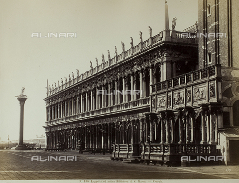 FVQ-F-147442-0000 - View of Piazzetta San Marco in Venice, with the Marciana National Library and the Loggetta at the base of the Bell tower - Data dello scatto: 1865-1875 - Archivi Alinari, Firenze