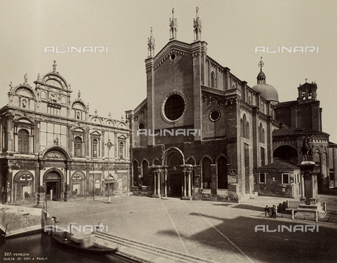 FVQ-F-150733-0000 - View of Campo Santi Giovanni and Paolo in Venice, with the Church of Santi Giovanni and Paolo and the Scuola Grande di San Marco - Data dello scatto: 1865-1875 - Archivi Alinari, Firenze