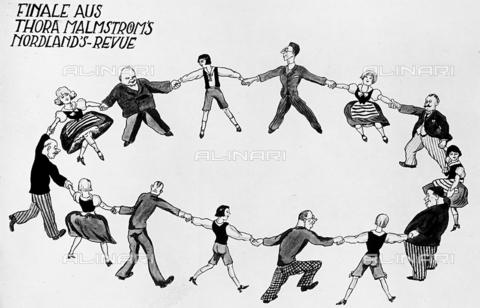 """FVQ-F-159008-0000 - Disegno, raffigurante uomini e donne che si prendono per mano formando un cerchio, appartenente alla rivista """"Thora Malmstroms"""" - Data dello scatto: 1930-1940 - Archivi Alinari, Firenze"""