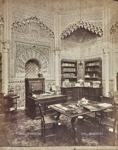 FVQ-F-159305-0000 - Office in the mezquita inside the La Madraza palace in Granada - Date of photography: 1880-1890 ca. - Fratelli Alinari Museum Collections, Florence