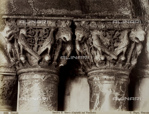 FVQ-F-172508-0000 - Detail of two capitals in the narthex of the Basilica of San Marco, Venice - Data dello scatto: 1865-1875 - Archivi Alinari, Firenze