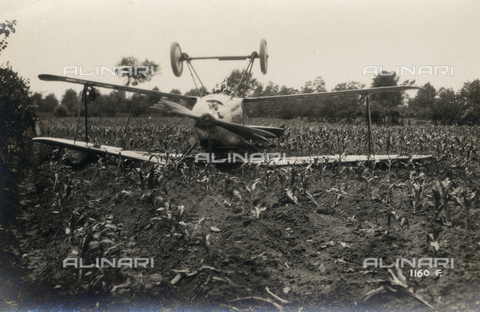 FVQ-F-178666-0000 - Plane crashed in a field during the First World War