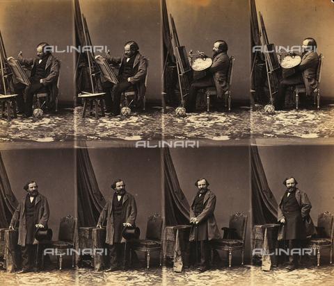 FVQ-F-199819-0000 - Ritratti del pittore Lepaulle: foglio di sei cartes de visite non tagliate - Data dello scatto: 1860-1865 ca. - Archivi Alinari, Firenze