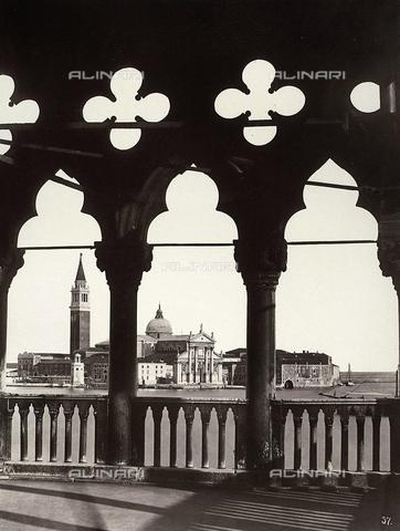 """FVQ-F-211398-0000 - """"San Giorgio seen from the Palazzo Ducale"""", Venice - Data dello scatto: 1860 ca. - Archivi Alinari, Firenze"""