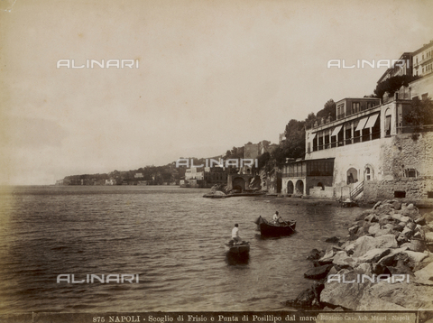 FVQ-F-219387-0000 - The rock of Frisio and Punta of Posillipo from the sea, Naples - Date of photography: 1890 ca. - Fratelli Alinari Museum Collections, Florence