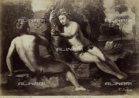 FVQ-F-221443-0000 - Adam and Eve, oil on canvas, Jacopo Robusti known as Tintoretto (1519-1594), Gallerie dell'Accademia, Venice - Data dello scatto: 1865-1875 - Archivi Alinari, Firenze