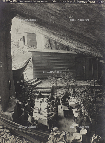 FVQ-F-222326-0000 - First World War: officers' mess inside a quarry on the Isonzo front, Photography of the Austro-Hungarian Empire