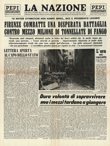 GBB-F-004311-0000 - 1966, 10 november, FIRENZE, ITALY : The first page of florentinian newspaper LA NAZIONE regarding the flood disaster that devastated the city - © ARCHIVIO GBB / Archivi Alinari
