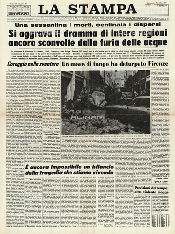GBB-F-004312-0000 - 1966, 6 november, FIRENZE, ITALY : The first page of italian newspaper LA STAMPA regarding the flood disaster that devastated the city - © ARCHIVIO GBB / Archivi Alinari