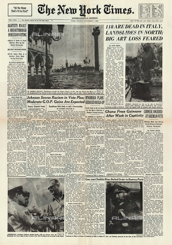 GBB-F-004314-0000 - 1966, 7 november, FIRENZE, ITALY : The first page of United States newspaperTHE NEW YORK TIMES regarding the flood disaster that devastated the city - © ARCHIVIO GBB / Archivi Alinari