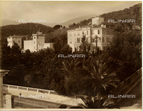 GBB-F-005682-0000 - 1880 ca, IMPERIA, ITALY : SANREMO - SAN REMO, view of the VILLA ZIRIO. The Villa was built by the rich lawyer Giovanni Battista Zirio, on project of architect Marsigliese Berenger, before 1868. The garden was a project by botanist Ludovico Winter (1846 1912). In this home stay for 4 months, from 3 november 1887, the prince Frederick III King ofi Prussia an Emperor of Germany (1831 1888) for a cure of mouth cancer, under the cure of Doctor Morell Mackenzie. In 1868 stay for a visit the celebrated music composer Richard Wagner (1813 1883) with his friend Von Kettel. The house at left side in this photo is Villa Rothenburg. - © ARCHIVIO GBB / Archivi Alinari