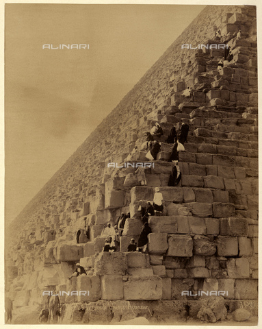 GBB-F-007352-0000 - 1890 ca, EL GIZA, EGYPT: The ascension of The Great Pyramid of Giza (also known as the Pyramid of Khufu or the Pyramid of Cheops) - © ARCHIVIO GBB / Archivi Alinari