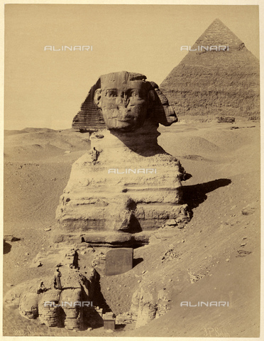 GBB-F-007354-0000 - 1890 ca, EL GIZA, EGYPT: The Great Sphinx of Giza, in background the Pyramid of Khafre. - © ARCHIVIO GBB / Archivi Alinari