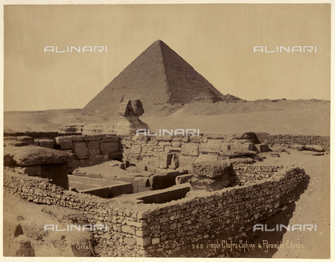 GBB-F-007356-0000 - 1890 ca, EL GIZA, EGYPT: The Great Sphinx of Giza, in background the Great Pyramid of Giza (also known as the Pyramid of Khufu or the Pyramid of Cheops) - © ARCHIVIO GBB / Archivi Alinari