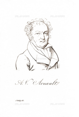 GBB-F-008017-0000 - 1821, Paris, FRANCE: The french writer, poet, politician and dramatist of Académie française ANTOINE VINCENT ARNAULT (1766-1834). He is the father of Lucien Arnault (1787-1863), dramaturg and prefect. Arnault became friends with Napoleon, who in 1797 charged him with the administrative organization of the Ionian Islands occupied by France. He accompanies Napoleon in the Egyptian expedition, but must interrupt his trip to Malta. - © ARCHIVIO GBB / Archivi Alinari