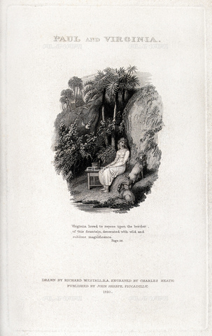 "GBB-F-008029-0000 - 1806, FRANCE: The french writer and Botanist, autheur of celebrated romance PAUL ET VIRGINIE (1787). Illustration frontespice from the 1820 British edition of"" Paul and Virginia"", drawnings by Richard Westall, engraving by Charles Heath, pubblished by John Sharpe, London. - © ARCHIVIO GBB / Archivi Alinari"