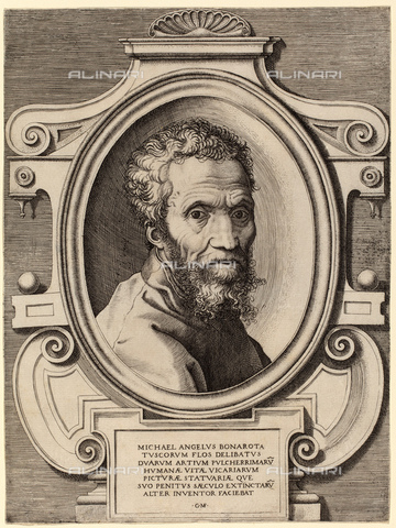 GBB-F-008034-0000 - 1564 ca, ITALY: The Italian Renaissance painter and scultor MICHELANGELO BONARROTI (1475-1564). Portrait engraving by Giorgio Ghisi (aka Giorgio Mantovano, 1520-1582) after Marcello Venusti, 1564 ca - © ARCHIVIO GBB / Archivi Alinari