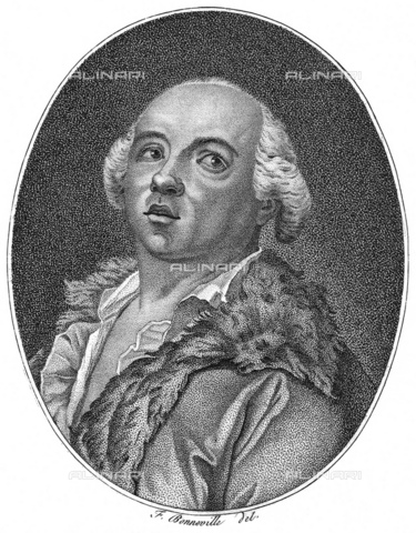 GBB-F-008040-0000 - Alessandro CONTE DI CAGLIOSTRO (born GIUSEPPE BALSAMO, 1743-1795). Portrait engraved from F. Bonnville, France, XIX century. The most famous italian adventurer, magician, healer and falsiefer. Escaped from the France (1786) for the fake collier of Queen Marie Antoniette, arrested like heretic and freemason - © ARCHIVIO GBB / Archivi Alinari