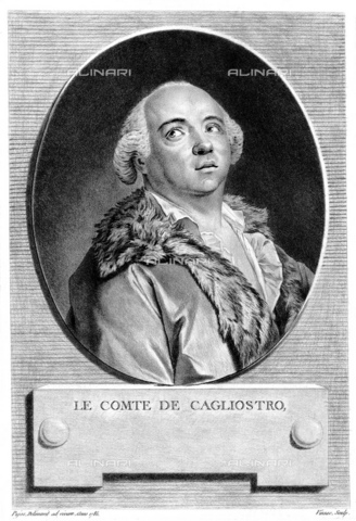 GBB-F-008041-0000 - 1785, FRANCE: Alessandro CONTE DI CAGLIOSTRO (born GIUSEPPE BALSAMO, 1743-1795). Portrait engraved in XIX century by Vinsac from original portrait by Pujos in 1785. The most famous italian adventurer, magician, healer and falsiefer. Escaped from the France (1786) for the fake collier of Queen Marie Antoniette, arrested like heretic and freemason. - © ARCHIVIO GBB / Archivi Alinari