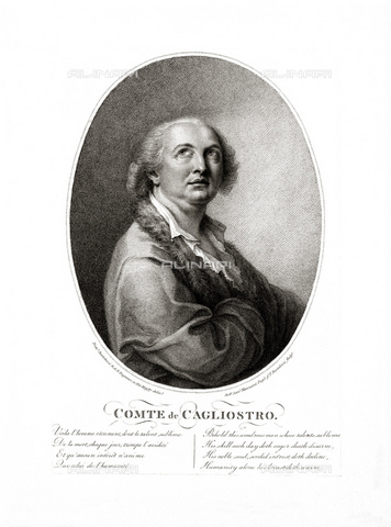 GBB-F-008042-0000 - 1790 ca, FRANCE: Alessandro CONTE DI CAGLIOSTRO (born GIUSEPPE BALSAMO, 1743-1795). Portrait engraved by Rober Samuel Marcuard from original portrait by Francesco Bartolozzi, London. The most famous italian adventurer, magician, healer and falsiefer. Escaped from the France (1786) for the fake collier of Queen Marie Antoniette, arrested like heretic and freemason - © ARCHIVIO GBB / Archivi Alinari