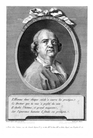 GBB-F-008043-0000 - 1785 ca, FRANCE: Alessandro CONTE DI CAGLIOSTRO (born GIUSEPPE BALSAMO, 1743-1795). Portrait engraved in XIX century by Devere from original portrait by Guerin, Paris. The most famous italian adventurer, magician, healer and falsiefer. Escaped from the France (1786) for the fake collier of Queen Marie Antoniette, arrested like heretic and freemason. - © ARCHIVIO GBB / Archivi Alinari